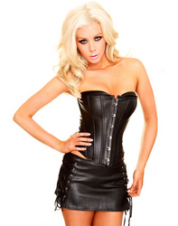 Leather Corset With Mini Dress