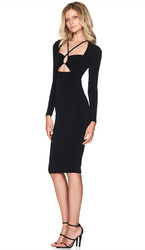 Hot Sell Long Sleeve Strappy Bodycon Dress Black