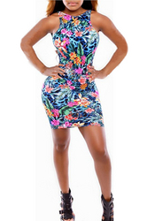Beautiful Sleeveless Floral Print Slimming Bandage Dress Blue