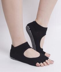Toe Exercise Yoga Socks Pilates Barre Sock with Grip for Girl Women Black