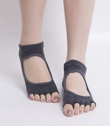 Toe Exercise Yoga Socks Pilates Barre Sock with Grip for Girl Women Grey