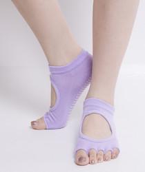 Toe Exercise Yoga Socks Pilates Barre Sock with Grip for Girl Women Purple