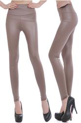 Fashion of tall waist imitation leather leggings  mercerizing knaki