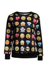 Black Long Sleeves Sweatshirt Print Noir Smiley