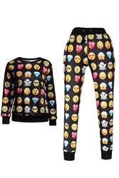 Black Long Sleeves Sweatshirt and Legging Print Noir Smiley