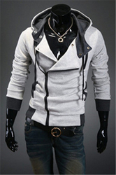Hot sale styles Men's Autumn and winter cardigan Korean men's Hoodie Jacket Light Gray