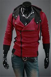 Hot sale styles Men's Autumn and winter cardigan Korean men's Hoodie Jacket Wine Red