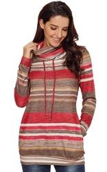 Fashion color stripe turtleneck sweatshirt