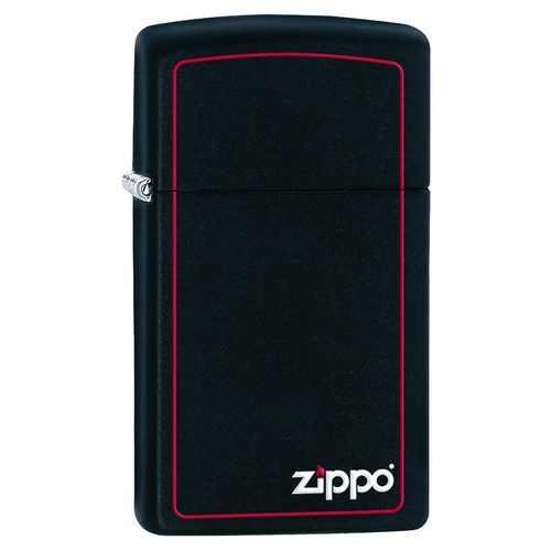 Zippo Windproof Lighter Slim Black Matte w/Zippo Logo & Red Border