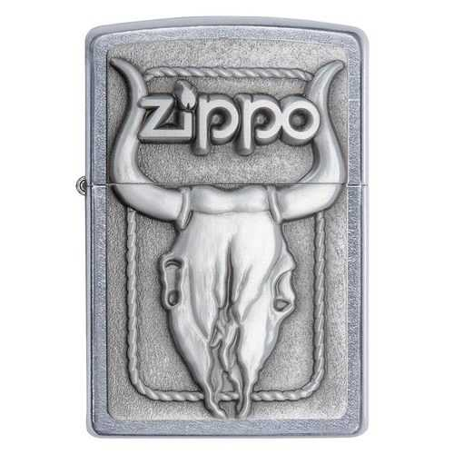Zippo Windproof Lighter Bull Skull Western Emblem Street Chrome