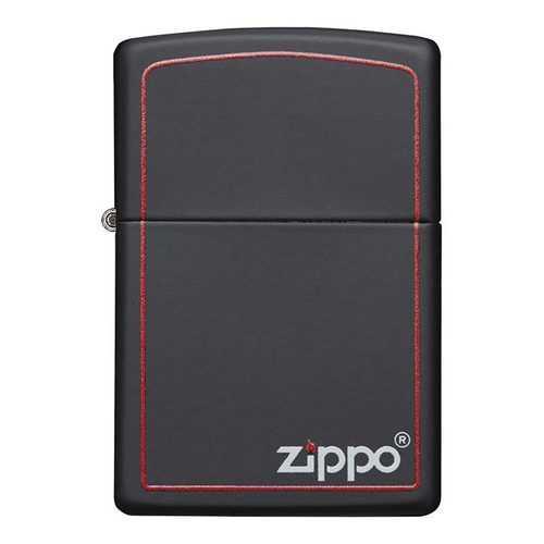 Zippo Windproof Lighter Black Matte w/Zippo Logo & Red Border