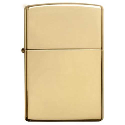 Zippo Windproof Lighter High Polish Brass w/o Solid Brass EngravedHigh Polish Brass