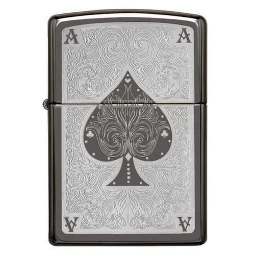 Zippo Windproof Lighter Ace Filagree Black Ice Finish