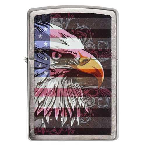 Zippo Windproof Lighter Eagle Flag Brushed Chrome