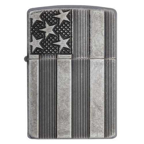 Zippo Windproof Lighter U.S. Flag Armor Case  Antique Slilver Plate Finish