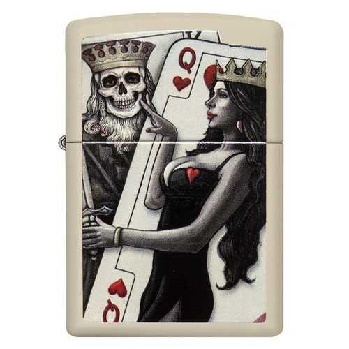 Zippo Windproof Lighter Skull King Queen Beauty Cream Matte Finish