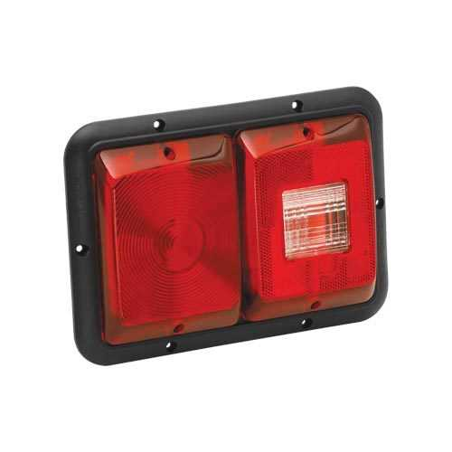 Bargman Taillight 84 Recessed Double Horizonal Mount Red Backup  Black Base