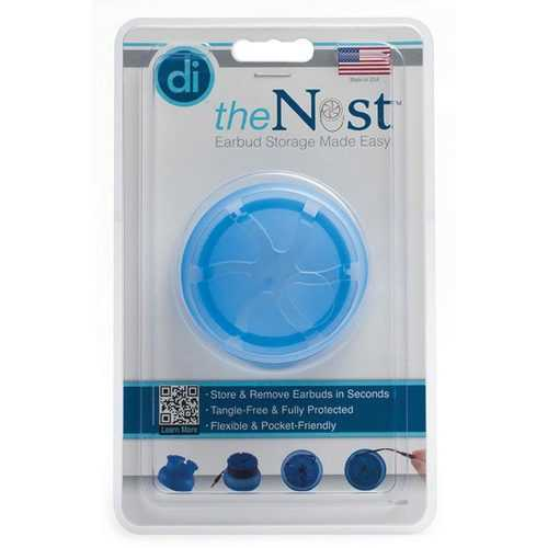 Digital Innovations The Nest TangleFree Earphone Earbud Case Durable Compact Storage System Blue