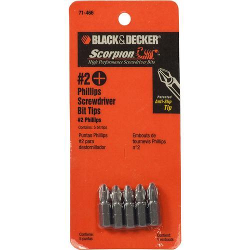 Black&Decker 5 PC #2 PHILLIPS BIT TIP