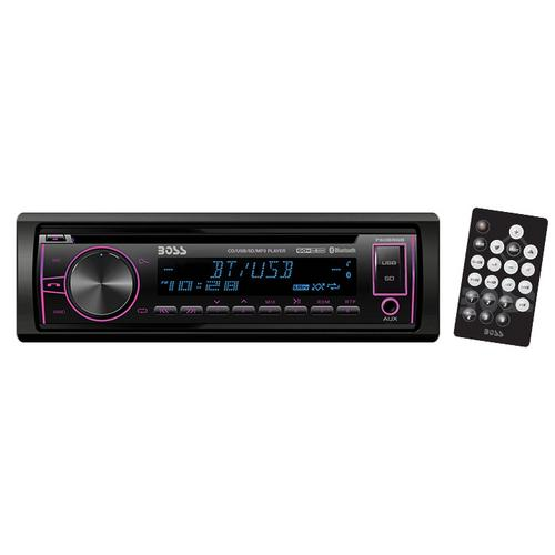 Boss Single Din CD/MP3 ReceiverMulti-Color Display Bluetooth USB Front Aux Remote