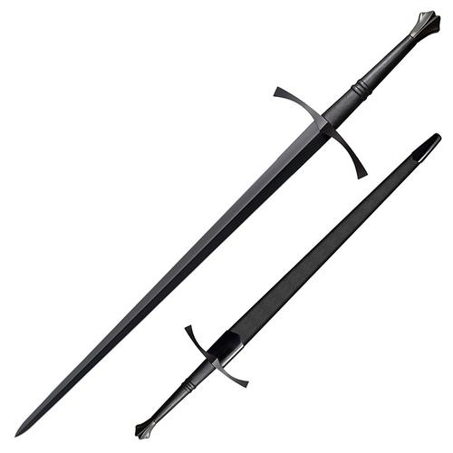 "COLD STEEL Man at Arms Italian Long Sword 35.5"" Blued Carbon Steel Blade Leather Handle"
