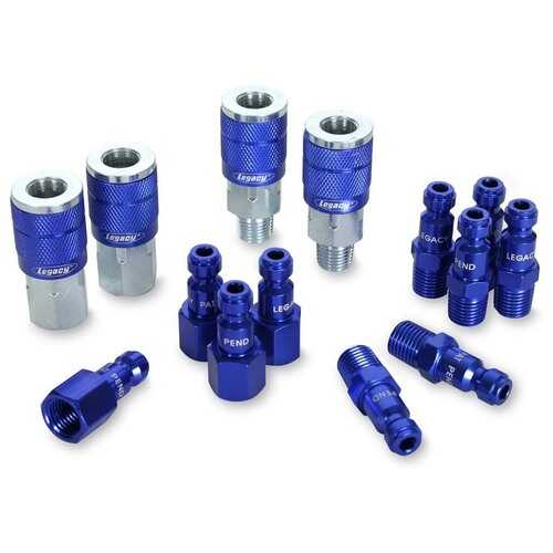 ColorConnex Coupler  Plug Kit Type C 1/4in NPT 1/4in Body Blue 14 Pc