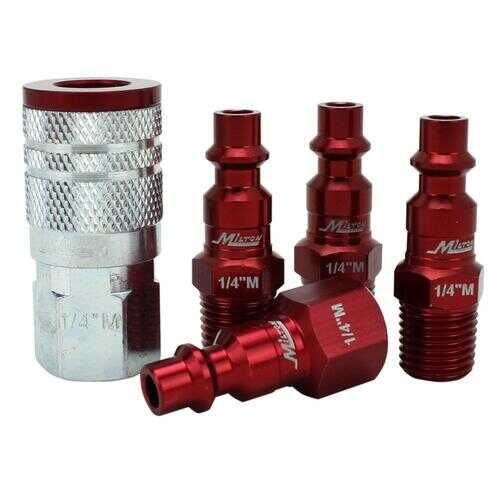 ColorConnex Coupler  Plug Kit Type D 1/4in NPT 1/4in Body Red 5 Pc