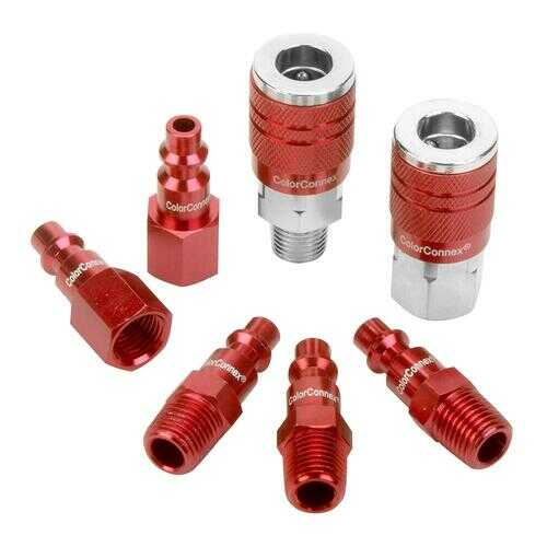 ColorConnex Coupler  Plug Kit Type D 1/4in NPT 1/4in Body Red 7 Pc