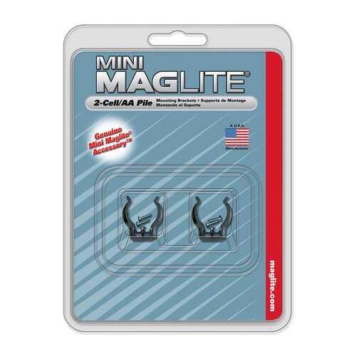 Maglite Mini AA Mounting Brackets (2-Pack) - Black