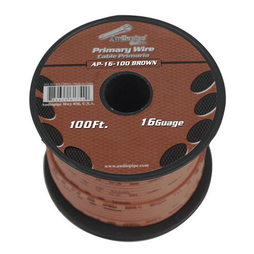 Audiopipe 16 gauge 100ft Brown primary wire