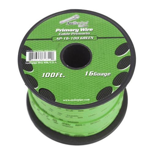 Audiopipe 16 gauge 100ft Green primary wire