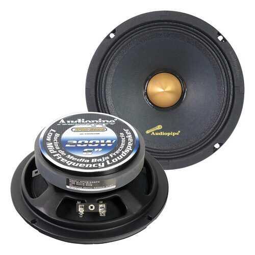 "Audiopipe Low Mid Frequency Loudspeaker 6"" 200W Max Each - Gold Bullet Dust Cap"