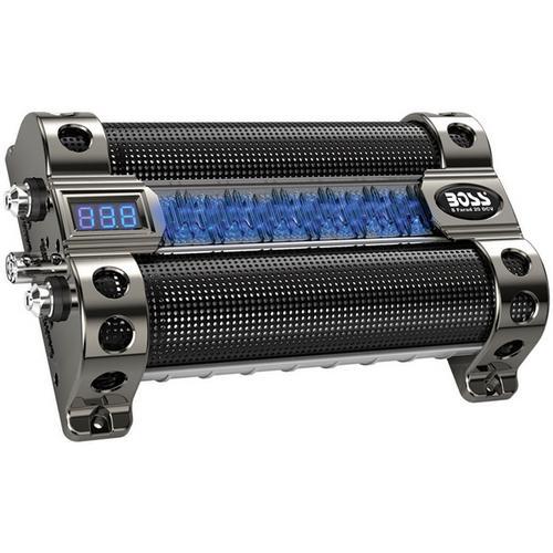 Boss 8 Farad Capacitor digital voltage meter black chrome active light show