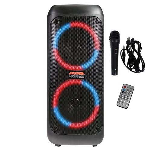 "Maxpower Rechargeable Bluetooth Speaker - 6500 Watts 8""x 2 Woofers LED Lights"