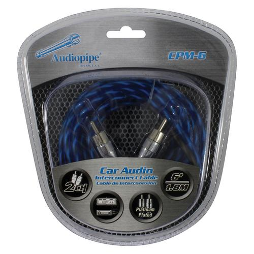 Audiopipe Platinum Plated Interconnect Cable 6ft