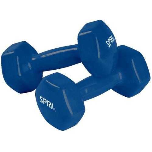 SPRI Deluxe Vinyl Dumbbells  6lb Pair  Red