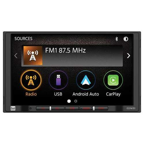 """Dual 7"""" Double Din Mechless Digital Media Receiver with Apple CarPlay Android Auto"""