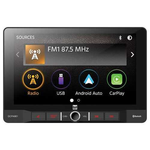 """Dual 9"""" Mechless Digital Media Receiver with Apple CarPlay Android Auto Single din with SwivelTilt"""