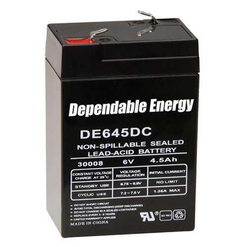 American Hunter DE645DC / 6V 4.5 AMP HR RECHARGEABLE BATTERY / TAB TOP  BULK