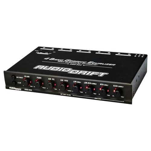 Audiodrift 4 Band Graphic Equalizer with Subwoofer Output Dual Color Illumination 7V Output