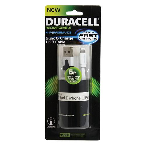 Duracell Standard USB to Lightning Sync and Charge Flat Cable 6' (White)