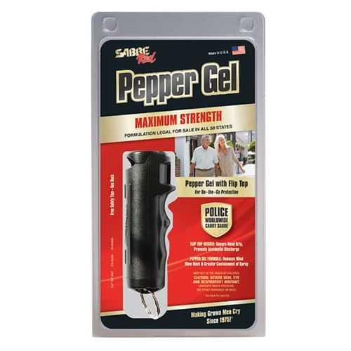 SABRE Red Pepper Gel Police Strength w Key Case Finger Grip Flip Top 25 Bursts