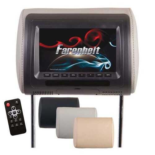 "Farenheit Universal  7"" Headrest (Single) includes 3 Color Skins (BlackGreyBeige) Dual CH IR Tran"