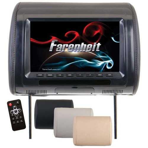 "Farenheit Universal  9"" Headrest (Single) includes 3 Color Skins (BlackGreyBeige) Dual CH IR Tran"