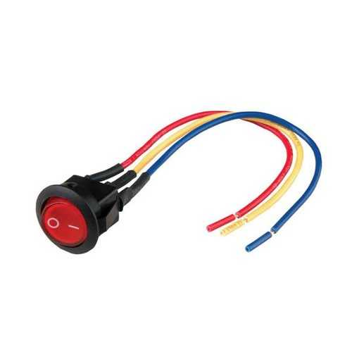 """Nippon mini rocker switch with 6"""" lead wire red color LED"""