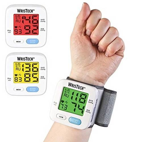 WrisTech Blood Pressure Monitor with Adjustable Wrist Cuff Color Changing LCD Monitor