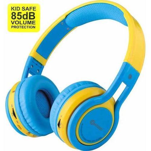 Contixo Kids Headphone 85DB Over Ear Foldable Wireless Bluetooth MicroPhone SDCard Music FMRadio Blu
