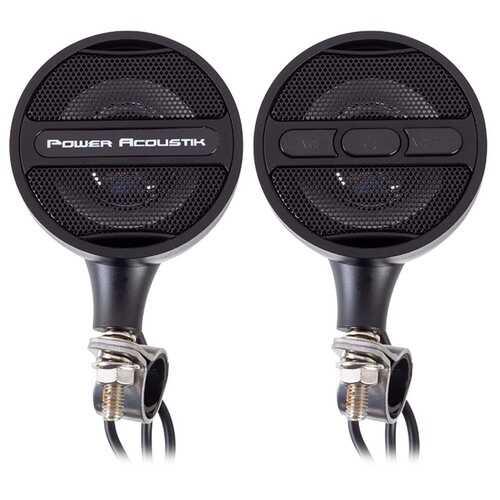 Power Acoustik Black Motorcycle Bluetooth Speaker System FM Radio & USB Input