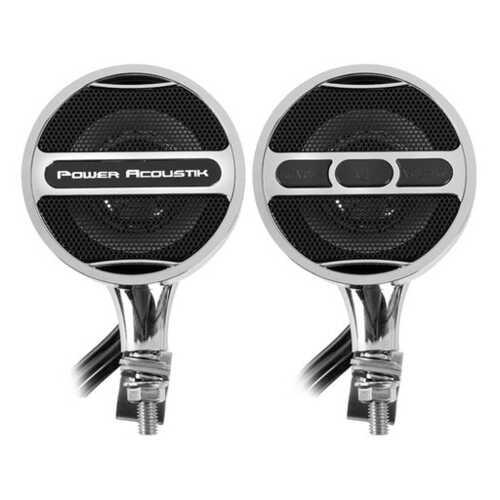 Power Acoustik Chrome Motorcycle Bluetooth Speaker System FM Radio & USB Input