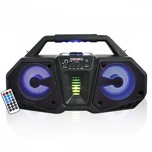 """Axess Portable Bluetooth Dual 4"""" Speakers with Flashing LED Lights"""